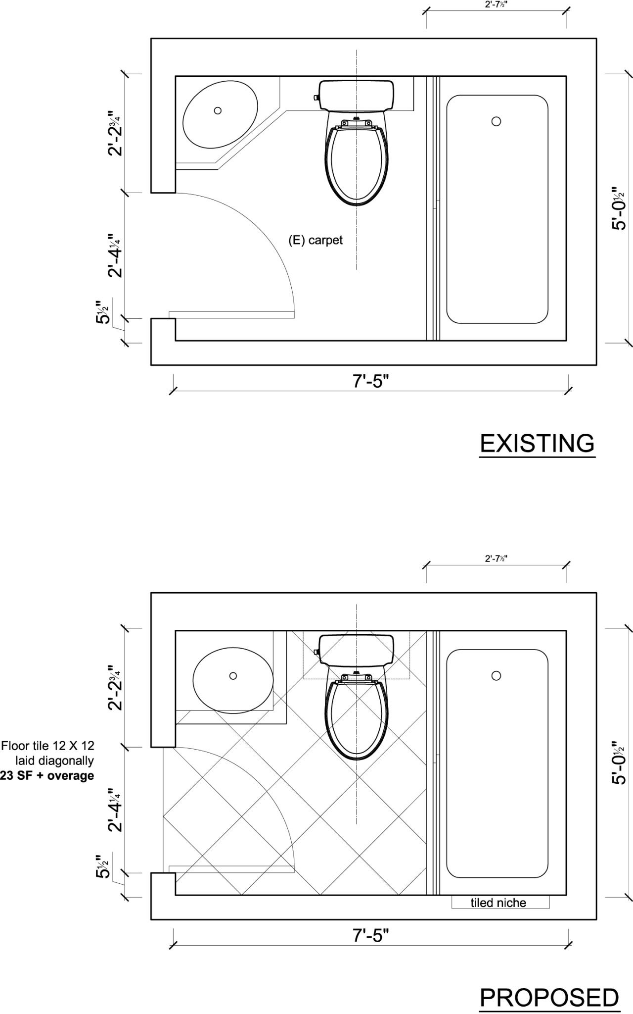 The plan for reorienting the sink, and new tile floor